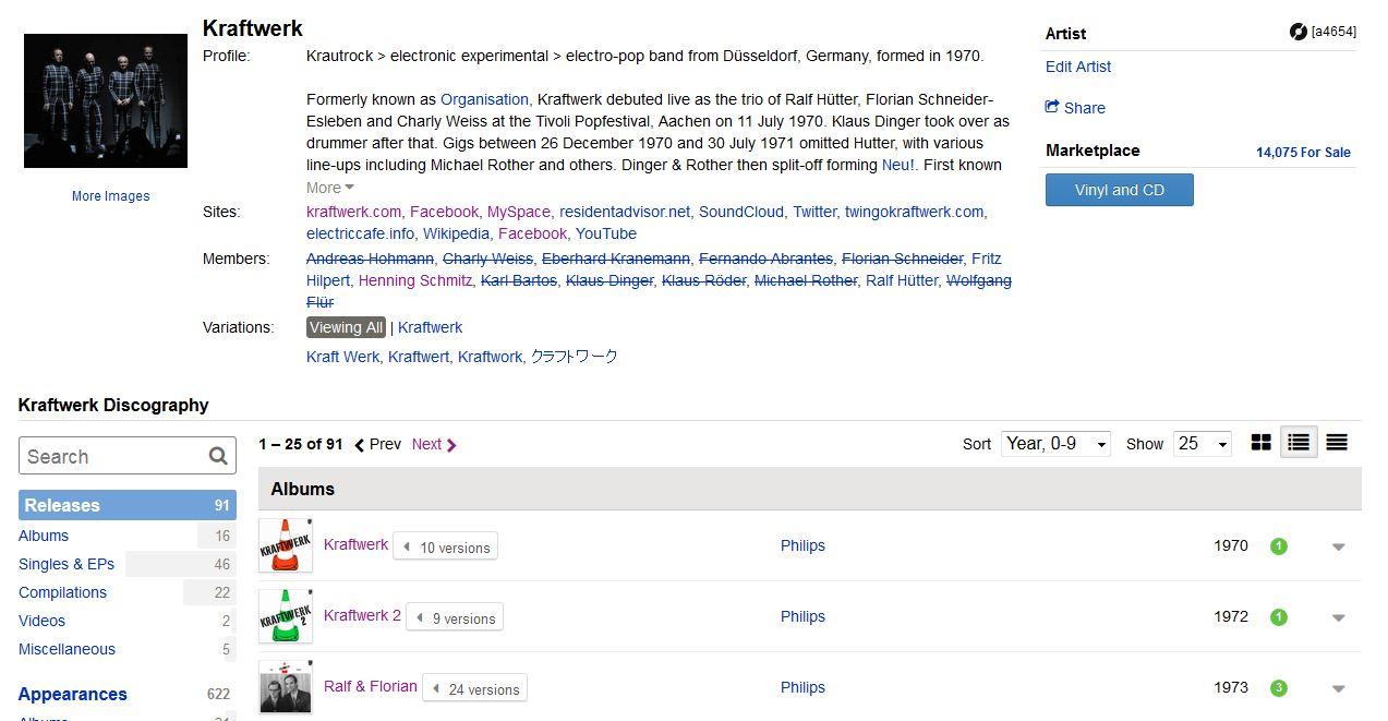 Discogs Website